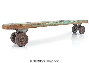 bois, skateboard, blanc, vieux, fond