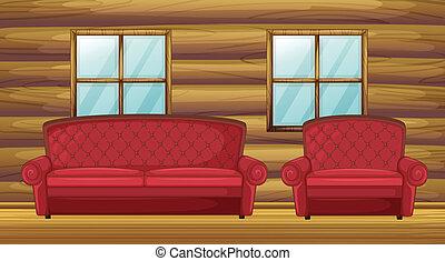 bois, sofa, chaise, salle, rouges