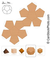 bois, solides, platonic, dodecahedron, texture
