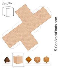 bois, solides, platonic, hexahedron, texture
