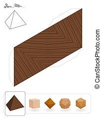 bois, solides, tétraèdre, platonic, texture