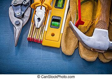 bois, sommet, équipement, construction, planche, vue
