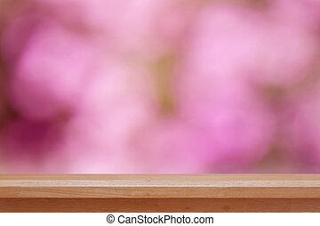 bois, sommet table, sur, rose, bokeh, résumé, fond, boîte, être, utilisé, pour, montage, ou, exposer, ton, produits