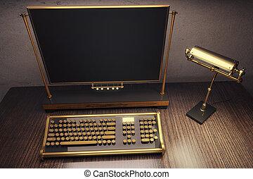 bois, steampunk, lampe, machine écrire, table