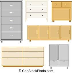 bois, style, ensemble, objet, isolé, cabinet, vecteur, meubles