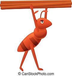 bois, style, icône, dessin animé, fourmi, porter
