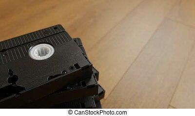 bois, sur, vhs, pile, fond, cassette, vidéo, vue., sommet, bande