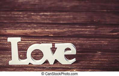 bois, table., amour, mot