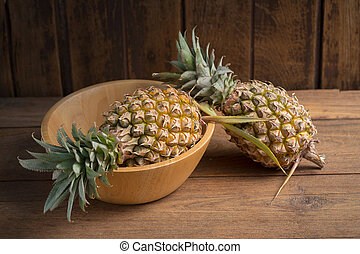 bois, table., ananas