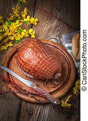 bois, table., entier, jambon