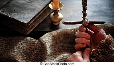 bois, table., livre, vieux, religieux