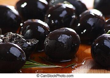 bois, table., olives, noir