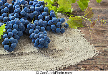 bois, table., vieux, raisins