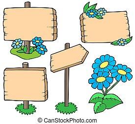 bois, tables, fleurs, collection