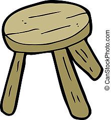 bois, tabouret, dessin animé