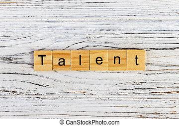 bois, talent, cubes, mot