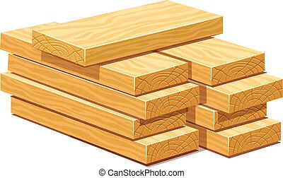 bois, tas, planches, bois construction