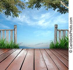 bois, terrasse