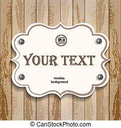 bois, texte, bannière, fond