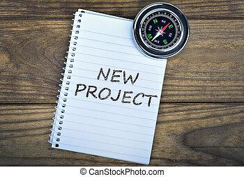 bois, texte, compas, projet, nouveau, table