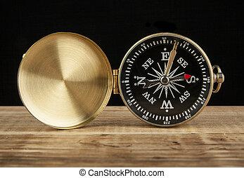 bois, texte, compas, table, espace