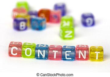 bois, texte, cubes, contenu, coloré