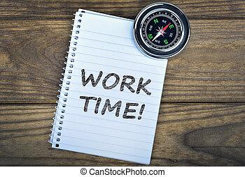 bois, texte, travail, temps, compas, table