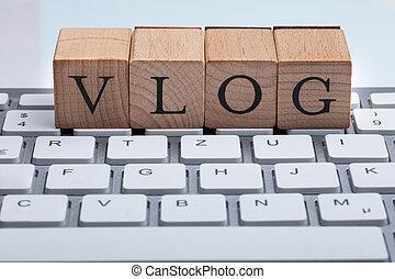 bois, texte, vlog, bloc, clavier