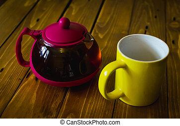 bois, thé, table
