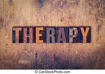 bois, thérapie, concept, type, letterpress