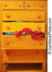 bois, tiroir, commode, débordement, vêtements