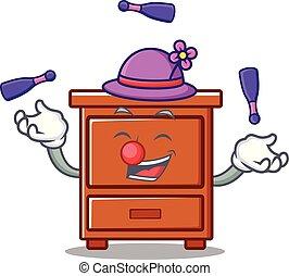 bois, tiroir, mascotte, dessin animé, jonglerie