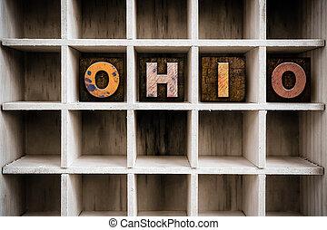 bois, tiroir, ohio, type, concept, letterpress