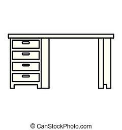 bois, tiroirs, bureau bureau