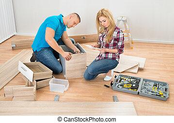 bois, tiroirs, couple, montage