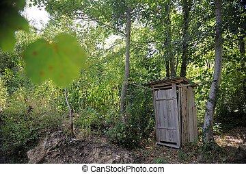 bois, toilette, extérieur, retro