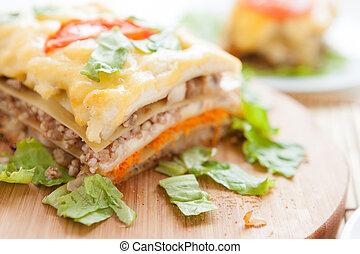 bois, traditionnel, lasagne végétal, planche