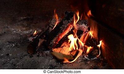 bois, tranquillement, cheminée, journaux bord, brûlé