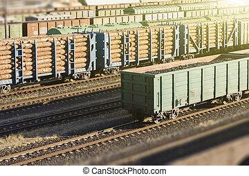 bois, transport, voitures, wood., rail., chargé