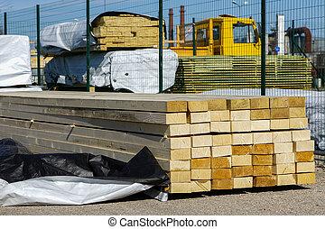 bois, travail, stockage, pile, construction, entrepôt, planche