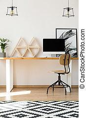 bois, triangle, étagères, bureau