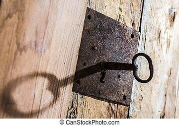 bois, trou de la serrure, antiquité, clef porte