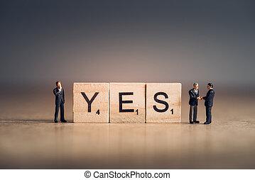 bois, tuiles, à, lettres, orthographe, dehors, les, mot, yes., concept affaires