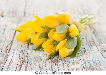 bois, tulipes, planches, jaune