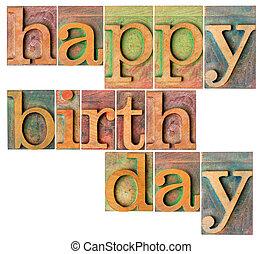 bois, type, anniversaire, heureux