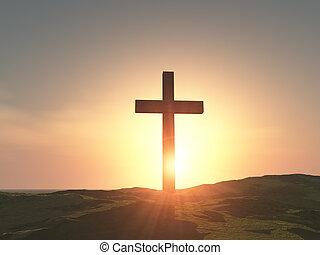 bois, unique, croix