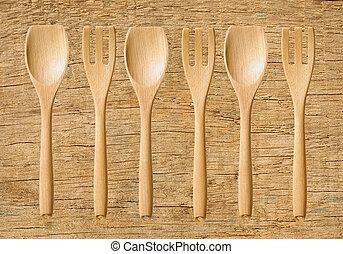 bois, ustensiles, table cuisine