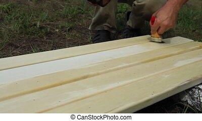 bois, varnish., traitement, fabrication, maison pays, meubles, construction