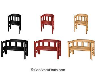 bois, vecteur, bancs, illustration