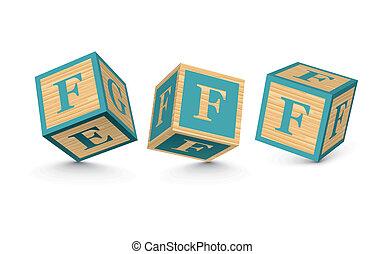 bois, vecteur, blocs, lettre f